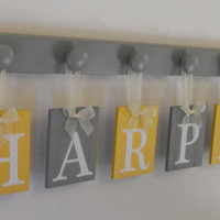 Wooden Alphabet Letters in Gray and Yellow Set Hanging on 6 Wooden Hooks for Baby HARPER