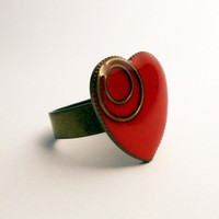 Antique Brass Heart Shaped Ring With Red Resin, Valentine's Day Jewelry