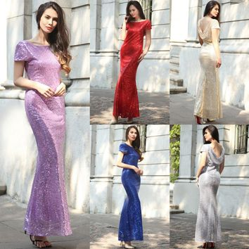2017 New Draped Neck Long Dress Women Sparkle Sequin Dress Shinny Party Maxi Dresses Wedding Full Dress