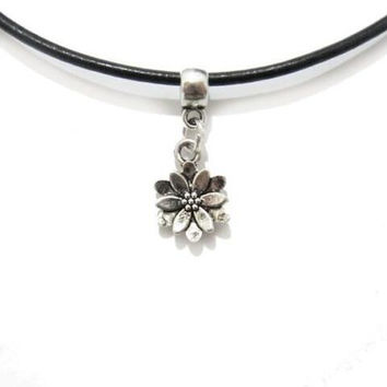 Vintage petite silver lotus flower necklace choker with black cord