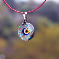 Golden Color Tiny Murano Glass Evil Eye Pendant, Lamp Work Evil Eye Necklace, Green Color Transparent Bead Pendant,  Lampwork Turkish  Eye
