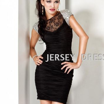 free shipping 2015 short design lace crystal beanded plus size sexy holiday dresses black dress Cocktail Dresses party prom gown
