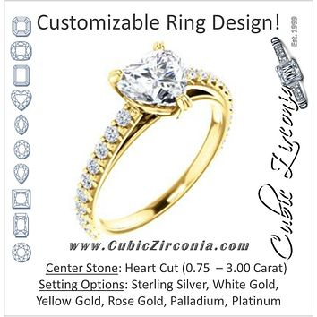 Cubic Zirconia Engagement Ring- The Marianne (Customizable Cathedral-set Heart Cut Style with Thin Pavé Band)