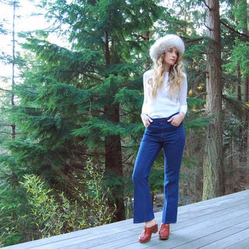 Vintage Wrangler Jeans, 30 31 Waist Trousers, High Waisted Jeans, Country Boho 70s Dark Wash Denim Wranglers, Pleated Bell Bottoms, 8 10