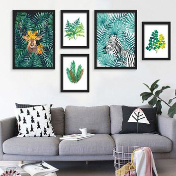 Nordic Style Watercolor Plant Tropical Leaf Flower Cactus Canvas Printing Wall Art Poster Wall Pictures Living Room Home Decor
