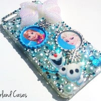Custom Frozen Phone Case Anna Elsa Olaf Phone Case Christmas Bling Rhinestone Phone Case Cover Tablet iPhone 6 5 5S Samsung Galaxy Note