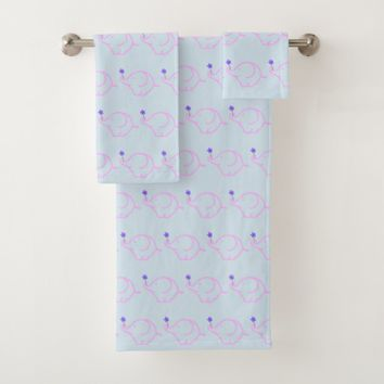 Pink Elephant with a Purple Flower Graphic Pattern Bath Towel Set