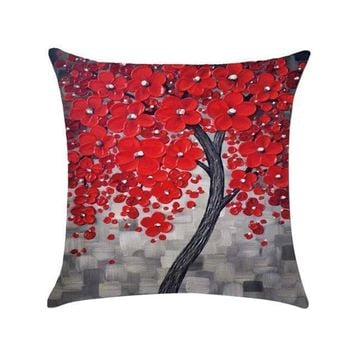 Sofa Waist Flower Cotton Linen Pillow Cushion Case Throw Pillow Shell Square Living Room Decor