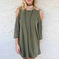 I Want Olive You Cold Shoulder Cutout Dress