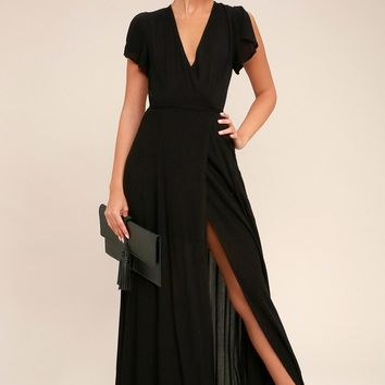 Heart of Marigold Black Wrap Maxi Dress