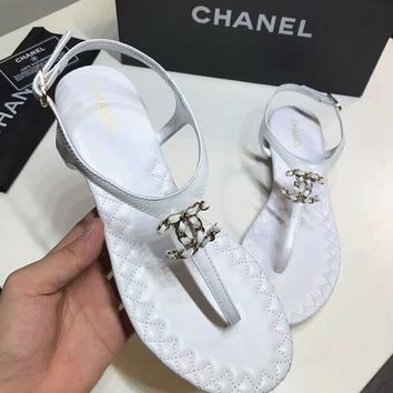 CHANEL 2018 summer new women's fashion tide brand thong sandals F-RCSTXC white