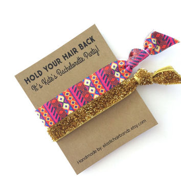 Custom Bachelorette Party Favors/Gifts - Aztec/Gold Glitter - Hold Your Hair Back