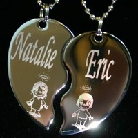 Personalized Split Heart Angel Bff Dogtag Necklace w/Chain and Giftbox