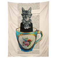 Coco de Paris Cat In A Cup Tapestry