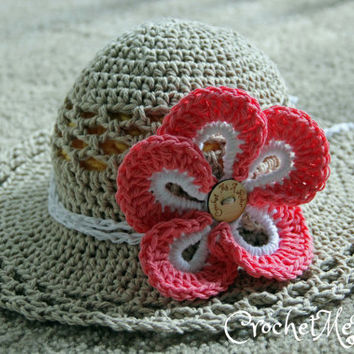 Crochet spring garden hat, Island girl hat with flower, crochet sun hat. Comes in 5 sizes (Infant, Baby, Toddler, Child/Youth)