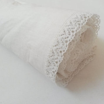 Linen blanket, throw blanket, picnic blanket, beach blanket, bedroom linen, sofa throw, throw over, linen wrap, ivory, shabby chic, lace