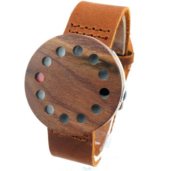 2017 New Mens Watches Wooden Wristwatch Brown Genuine Leather Band Japan Move' Quartz Wood Watches for Friends as Gifts