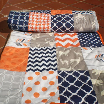 Woodland Baby quilt,Navy blue,grey,orange,baby boy bedding,baby girl quilt,rustic baby quilt,deer,bear,organic,arrows,chevron,Orange Jubilee