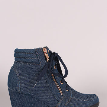 Denim Lace-Up High Top Wedge Sneaker