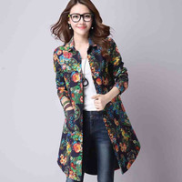 Womens Tops Fashion  Long Design Shirt Women Blouses Long Sleeve Loose Print Pattern Autumn Casual Lady Shirts Blusas T59223