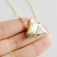 Gold Mountain with Marble Necklace for Outdoor Lovers, Hikers, Skiers, Snowboarders, Hiking Enthusiasts, Snow Mountain Lovers, Mountain Cabin - Gold & Silver Tone