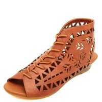 Laser Cut-Out Lace-Up Wedge Sandals by Charlotte Russe - Brown