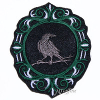 Gothic Raven Dark Green Cameo Iron On Embroidery Patch MTCoffinz