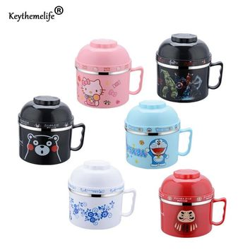 Keythemelife Cartoon instant noodles bowl Lunch boxs Food Thermo for Kids Thermal Bento Lunchbox Stainless Steel DA