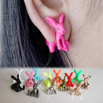 Jewelry Dimensional Animal Bunny Rabbits Earrings Piercing Earrings For Girls Fine Jewelry Earrings