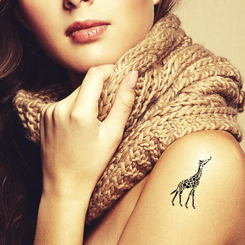 Giraffe temporary tattoo. Vintage tatts