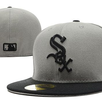 qiyif Chicago White Sox New Era MLB Authentic Collection 59FIFTY Hat Grey-Black