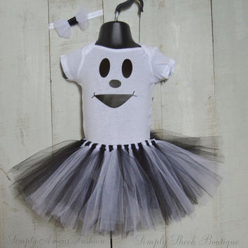 Ghost Tutu outfit with headband/ Halloween/ Ghost/ First Halloween