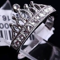 Crown 18k White Gold Plated Ring Size: 5,5/6/6,5/7/8/9