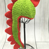 CCN42 Green And Red Dinosaur Crochet Baby Hat