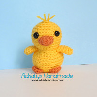 Crochet Tiny Yellow Duckling- Stuffed Duck- Duck Plush- Farm Animals- Pond Animals- Handmade Duck- Crochet Toy- Toy Plush- Made to Order