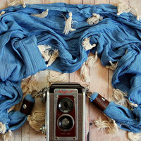 DSLR/SLR Camera Strap scarf style in boho chambray and tassels