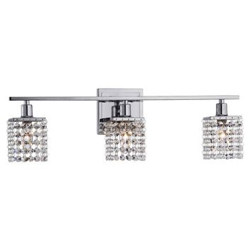 3-light Chrome/ Crystal Wall Sconce for Vanity