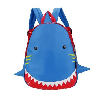 Oxford Cute Shark Pattern Cartoon Kids Snack Backpack Animal Bags For 1-3 Years Boys and Girls