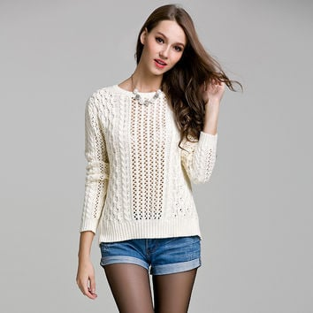 Hollow Out Knit Tops Long Sleeve Sweater [9010376198]