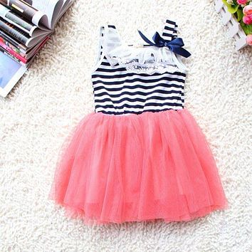 Summer Fashion Baby Girl Ball Gown Dress Lace+Cotton Material 3 colors Age 0-2