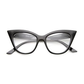 Women's High Pointed 60's Era Mod Fashion Clear Lens Cat Eye Glasses