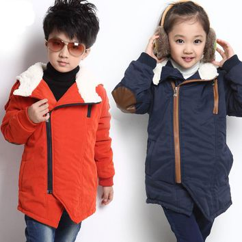Kids Boys girls winter child Hoodies plus fur velvet cotton-padded coats wadded jacket outerwear for baby 4 6 7 8 9 10 years old