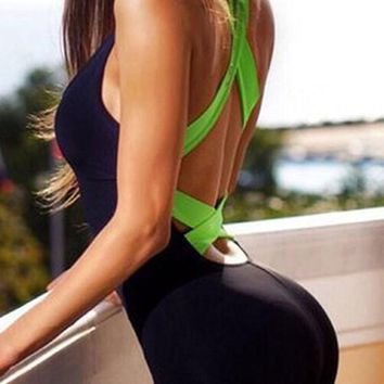 Fluorescent Green Cross Back Cut Out Elastic Waist Long Jumpsuit