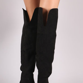 Bamboo Suede Back Slit Over-The-Knee Riding Boots
