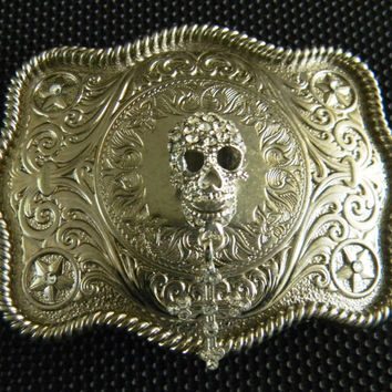 Skull Cross Steampunk Rhinestone Silver Western Engraved Womens Mens Belt Buckle, Day of The Dead, Human Skull, Cross Belt,Biker Belt