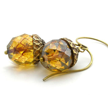 Golden Autumn Acorn  Earrings