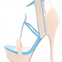 Nude Turquoise Clear Open Toe Platform Heels Faux Suede