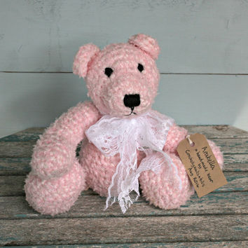 "pink | handmade | teddy bear | crochet | soft toy | bear | nursery | home decor | arctophile | lace bow | collectable | 12"" 30cm 