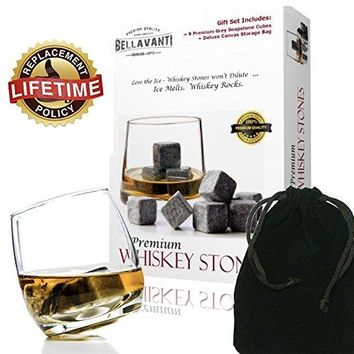 Bellavanti Whiskey Stones Gift Set For Reusable Iceless Chill For A Drink without Diluting or Watering Down  9 Scotch Chilling Rocks  100 Pure Soapstone Whisky amp Bourbon Sipping Cubes