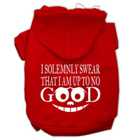 Up to No Good Screen Print Pet Hoodies Red Size XXXL (20)
